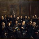 Henri-Adolphe Laissement, 1907 - collective portrait of the members of the Association of French journalists Republicans - fine art print - Poster print (canvas paper) / 60x40cm - 24x16