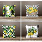 Floral Lemon Check Pillow Case|Black Gray White Striped Pillow Cover|Decorative Cushion|Housewarming Farmhouse Buffalo Plaid Throw Pillow