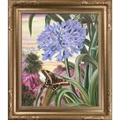 La Pastiche La Pastiche by overstockArt Blue Lily and Large Butterfly by Marianne North with Dark Champagne Florentine Frame Oil Painting Wall Art