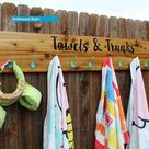 Pool Swimsuit and Towel Rack