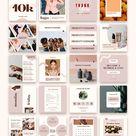 90 Instagram Post Templates | Product Based Business social media Feed | Female Entrepreneur | feminine Canva | Small Business Marketing Kit