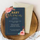 Pink Floral Gold Navy Watercolor Baby Shower Invite Template | Etsy