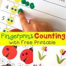 Free Spring Fingerprint Counting Printables | Caterpillar, Ladybug, Flowers
