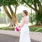 Bride Beauty Wedding Portrait in Romantic Fitted Stella York Lace Dress with Beaded Criss Cross Straps Holding Pink Floral Bouquet   Tampa Bay Wedding Photographer Lifelong Photography Studios   Wedding Hair and Makeup Michele Renee the Studio