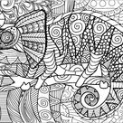 Chameleon on a branch with patterns - Chameleons and lizards Coloring Pages for Adults - Just Color