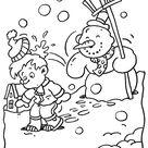 Kleurplaat Sneeuwman gooit een sneeuwbal