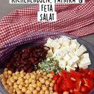 Kidneybohnen Kichererbsen, Paprika & Feta Salat