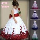 Flower Girl Dress Lace Formal Princess Wedding Birthday Party Bridesmaid Dresses Tea Length