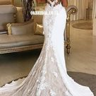 Spaghetti Straps Mermaid Lace Backless Sexy Wedding Dresses, FC4918