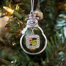Silver Crossing Guard Square Charm Snowman Ornament