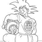 Dragon ball anime Goku and Gohan coloring pages for kids, printable free