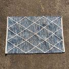 Blue white boho bath mat small rug door mat 2x3