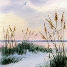 Dusk in the Sand Dunes and Sea oats Beach Decor Beach Print | Etsy