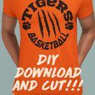 DIY downloadand cut!!! Basketball svg tiger svg scratches