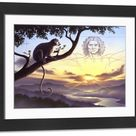 Large Framed Photo. Notharctus sits on a tree branch with
