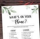 What's on your Phone Greenery Bridal Shower Games | Etsy