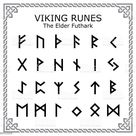 Ancient writing system, old Scandinavian 24 rune letter symbols in...