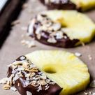 Chocolate Dipped Pineapple Slices with Toasted Coconut
