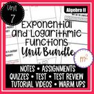 Exponential and Logarithmic Functions Unit Algebra 2