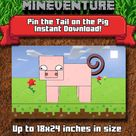 Mineventure Party Game - Instant Download - Pin the tail on the Pig