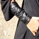 NEW Collection Black Extravagant Leather Bracelet / Genuine Leather Cuff by AAKASHA A17187