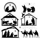 Set Van Kerststal Silhouetten. Collectie Van Traditionele Christelijke Figuren Heilige Nacht.
