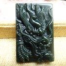 Hetian jade chinese dragon  green Jade   Nephrite jade dragon pendant perfect Nephrite jade dark green jade old dragon pendant