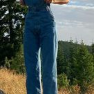 Who made Kendall Jenner's sneakers and blue overalls?