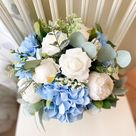 Boho Wedding Bouquet White Roses & Blue Hydrangea With   Etsy