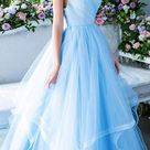 Tiered Skirt Light Blue Prom Dress