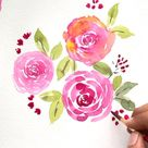 Free tutorial - Three easy ways to paint watercolour loose rose
