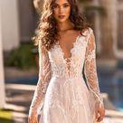 Wedding dress a-line Bridal gown v-neck Wedding dress with train Long sleeve wedding dress Modern br
