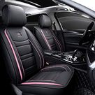 Luxury Leather Universal Auto Car Seat Covers, 5-Pc Full Set, Black & Pink