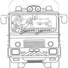 Feuerwehrmann Sam Ausmalbild | Sam im Feuerwehrauto