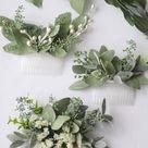 Eucalyptus hair comb greenery succulent Bridal hair vine boho ivory flower comb  bridal hair piece woodland flower hair comb floral hair pin