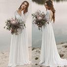 2021 Elegant Wedding Dresses Princess A Line Chiffon Long Sleeves V Neck Beach Bridal Gowns   Ivory / US2