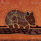 Animal aboriginal art wombat - Download Graphics & Vectors