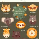 Jungle portrait animals Wild animals clipart Tropical animals with flowers Safari animals clipart