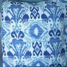 CLEARANCE Sky Blue Ikat Outdoor Patio Porch Decorative Accent Throw Pillow Cover Modern Decor