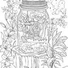 House in a Jar - Printable Adult Coloring Page from Favoreads (Coloring book pages for adults and kids, Coloring sheets, Colouring designs)