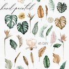 Floral tropical clipart. Boho tropical flowers. Dried palm watercolor leaves, Jungle leaves greenery clipart 012