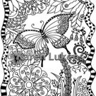 Butterfly Garden, 1 Adult Coloring Book Page, Printable Instant Download