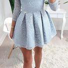 Elegant Off The Shoulder 3/4 Sleeves Lace A Line Short Homecoming Dresses, BTW241