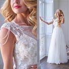 Wedding dress 2 pieces, Bohemian wedding dress, Fairytale wedding dress, Simple silk dress with tull