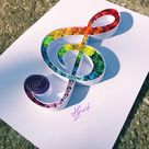 Quilling Art Treble Clef Music Lover Gift  Unique Gift Wedding Gift Paper Anniversary Gift Paper Wall Art Christmas Gift unique Home Decor