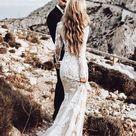 Long Sleeve Lace Applique Wedding Dresses Vintage Mermaid Wedding Dress AWD1255