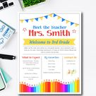 Editable Meet the Teacher About Me Template,  Back to School Welcome Letter, First Day of School Teacher Note, Easy to use template