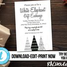 Editable Christmas White Elephant party invitation, Modern tree, Printable template, Holiday gift exchange, Digital Download, Templett