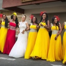THE COLOURS ARE JUST SO STUNNING. BEAUTIFUL BRIDE AND MAIDS. SUN FLOWER YELLOW ROCK NIGERIA WEDDING