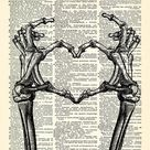 Skeleton Hands shaping Heart Poster Cool Love Art Print  Dictionary Page, Funny Love Art,  Anniversary Gift, Gift for Husband 031